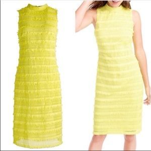 J. Crew Yellow Sheath Dress in Fringy Lace Size 00